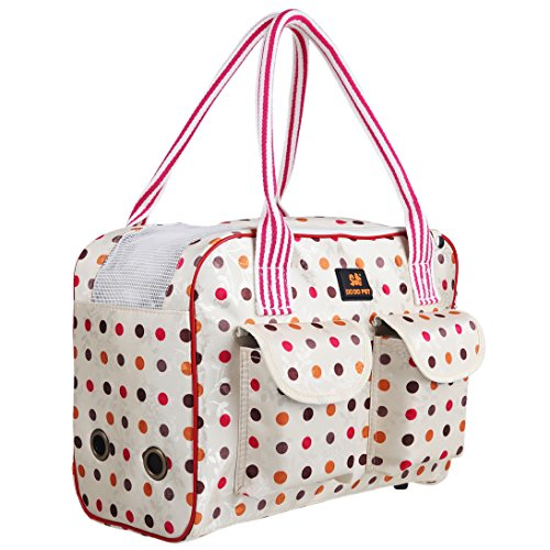 Zacoro Pink Soft-sided Airline-approved Print Pet Dog Cat Carrier (Large, Polka Dot)