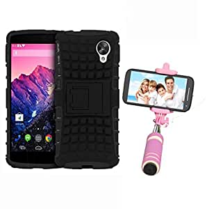 Hard Dual Tough Military Grade Defender Series Bumper back case with Flip Kick Stand for LG Nexus5 + Mini Aux Wired Selfie Stick Compatible for all Mobiles Phones by Carla Store.