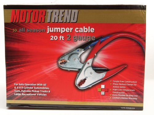 Motor Trend MTP220-CCA 20-Foot Jumper Cables with Parrot Clamps, 500-AMP