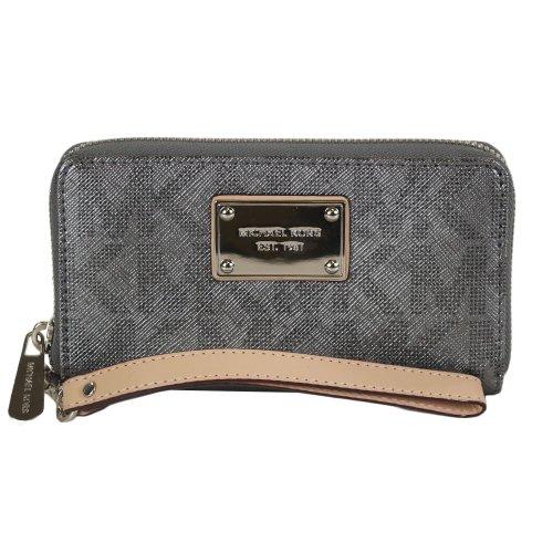 MICHAEL Michael KorsMichael Kors Large Multifunction Phone Case Gunmetal MK Logo Saffiano Wallet