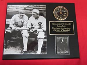 BABE RUTH and SHOELESS JOE JACKSON Collectors Clock Plaque w 8x10 RARE Photo and Card by J & C Baseball Clubhouse