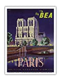 Paris - Notre Dame Cathedral by Moonlight - Fly BEA (British European Airways) - Vintage Airline Travel Poster by Daphne Padden c.1950s - Master Art Print - 9in x 12in