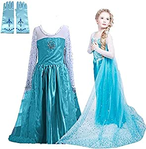 Snow Queen Glitter Dress Party Dress Costume with Dress-up Accessories (Ages 7-8)