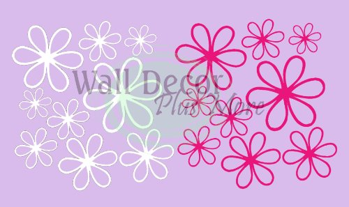 White & Hot Pink Daisy Wall Stickers 16 Vinyl Decals for Home Decor