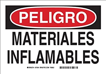 """Self Sticking Polyester, 7"""" X 10"""" Peligro Sign Legend, """"Materiales"""