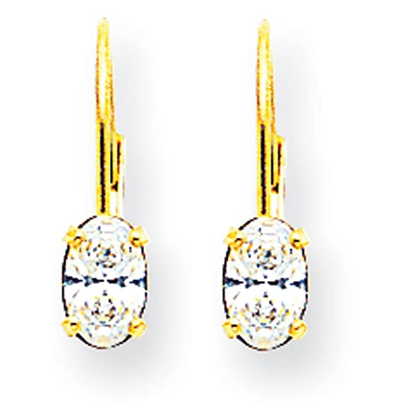 14ct Gold 6x4mm Oval Cubic Zirconia Leverback Earrings