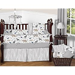 Blue Grey and White Woodland Animal Safari Baby Boys 9 Piece Bear Deer Fox Crib Bedding Set