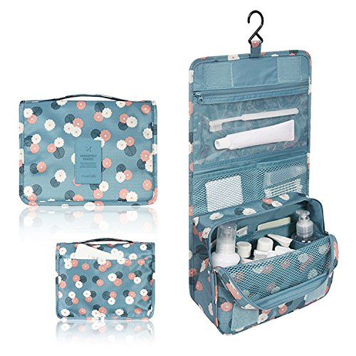 Pockettrip Hanging Toiletry Kit Clear Travel BAG Cosmetic Carry Case Toiletry (Flower in Sky Blue)