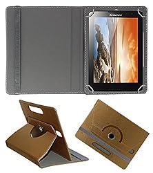Acm Designer Rotating 360° Leather Flip Case For Lenovo Tab A8-50 Tablet Stand Premium Cover Golden