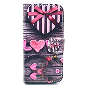 Cute Style Heart-gift Printing Wallet Leather Case Protective Phone Case w/ Card Slot for iPhone 5/5S