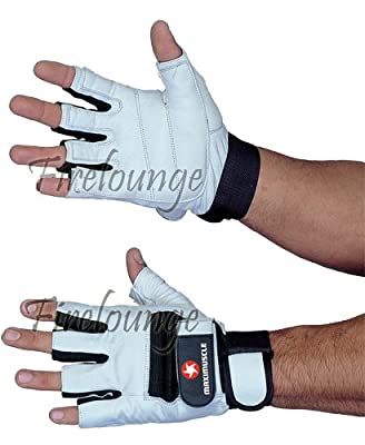 Maximuscle Heavy Duty Leather Weight Training Gym Gloves - Small/Medium from Maximuscle