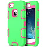 iPhone 5S Case, ULAK Robot Guard Case for Apple iPhone 5S 5 Protection Hybrid 3 Layer Soft Silicone Hard Inner Cover (Rose Pink/Green)