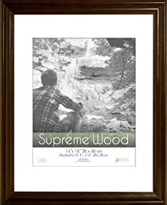 Timeless Frames 14x18 Inch Fits 11x14 Inch Photo Supreme Solid Wood Wall Frame, Espresso