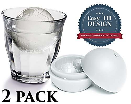 Big Save! Best Star Wars Inspired Death Star Ice Cube – The Force Awakens Special Edition – 2 Large Sphere Mold Trays + Bonus E-book