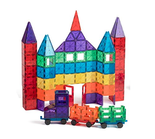 Playmags 100-Piece Clear Colors Magnetic Tiles Deluxe Building Set with Car & Bonus Bag (Discontinued by manufacturer)