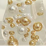 Easy Elegance ANTIQUE GOLD & WHITE Pearl Beads w/FREE Jelly BeadZ ® Water bead gel pearls ($3.95 Value) - Great for Wedding Centerpieces and Decorations