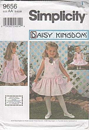 Simplicity 9656 DAISY KINGDOM Girls' Dress and 18 Inch Doll Clothes - Size AA (3, 4, 5, 6)