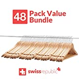 Wooden Suit Hangers - 48 Pack