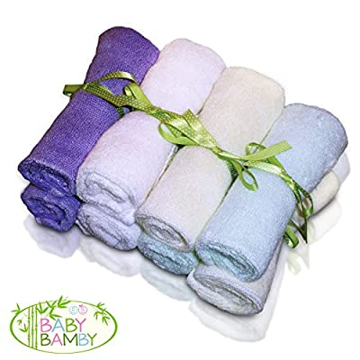 Bamboo Baby Washcloths (8 Pack), Soft Towels/Wipes, Newborn Shower Registry Gift