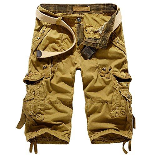 leward-mens-casual-slim-fit-cotton-solid-multi-pocket-cargo-camouflage-shorts-36-khaki
