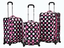 Big Sale Rockland Luggage Fusion 3 Piece Luggage Set, Mulpink Dots, Medium