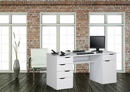 Computertisch Schreibtisch MAJA in Weiß Hochglanz - Icy Weiß 160x74,5x67cm Burotisch