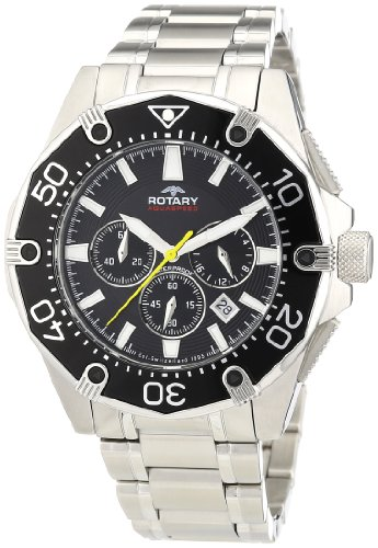 Rotary Aquaspeed Men's Quartz Watch with Black Dial Chronograph Display and Silver Stainless Steel Bracelet AGB00033/C/04