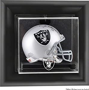 Oakland Raiders Framed Wall Mounted Logo Mini Helmet Display Case by Mounted Memories