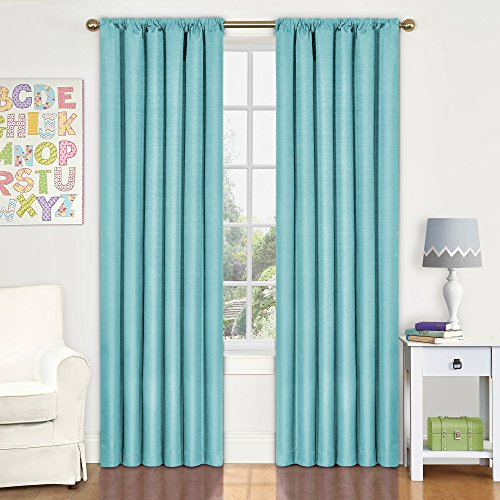 Eclipse Kids Kendall Blackout Window Curtain Panel, 42 by 63-Inch, Pool (Window Curtains Bedroom compare prices)