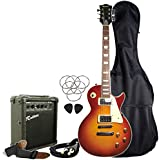 Rockburn LP Style Guitar Package - Sunburst, with 10W Amp, Gig Bag, Strings, Strap, Lead and Pecs.