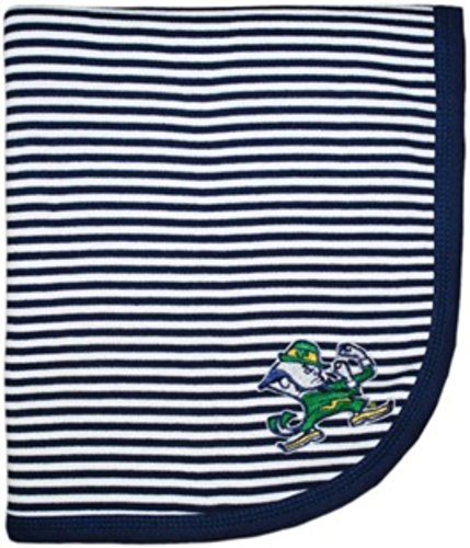 "NCAA College Newborn Infant Baby Blankets 33"" x 36"" (Notre Dame Fighting Irish Navy Blue)"
