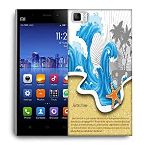 Snoogg Vector Summer Background With Waves Designer Protective Back Case Cover For Xiaomi Mi 3