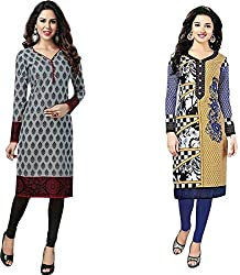 SDM Women's Kurti Printed Cotton Dress Material Unstitched Combo of 2 (122-124 ,Unstitched)