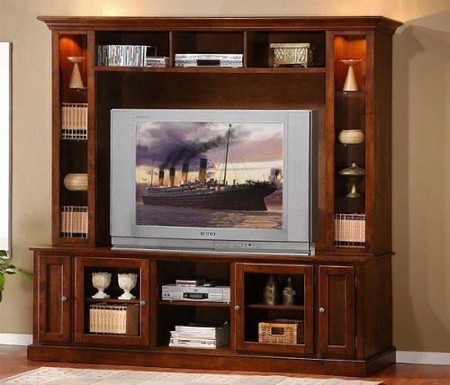 Cheap Contemporary Merlot Oak Finish Entertainment Center TV Stand (VF_ENTSET-700231)