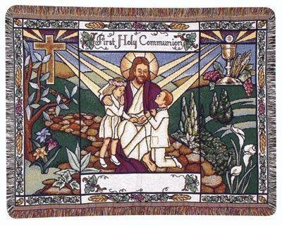 """First Holy Communion"" Gift Afghan Throw Blanket 40"" X 50"" front-923342"