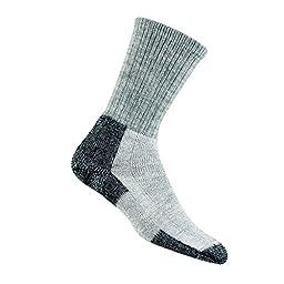 Thorlo Unisex Wool/Thorlon Thick Cushion Hiking Sock, Grey/Black, Large