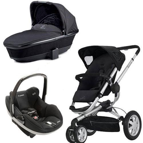 Quinny Buzz Stroller, Dreami Bassinet With Maxi-Cosi Prezi Carseat (Black) front-964359