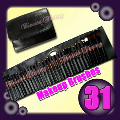 ビューティーズファクトリー メイクブラシ31本セット ケース付き Beauties Factory Pure Black Makeup Brushes x 31 pcs