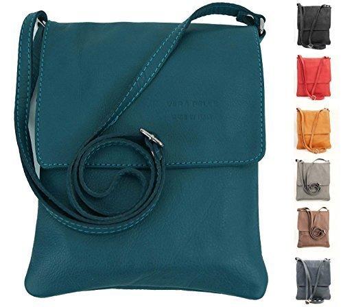 OBC italiano Piccola Borsa a tracolla Borsa di gioielli Mano Made in Italy CrossOver iPad Mini Tablet 7'' Borsa in Pelle borsa a tracolla Vera Pelle Ovye 18x22 cm (BxH) - Petrolio, 18x22 cm (BxH)
