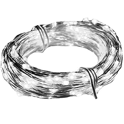Angelina(TM) 2 ×Set 5M 50 LEDs Battery Powered String Lights Silver Wire Fairy Lights Christmas Decoration Indoor Use Cool White