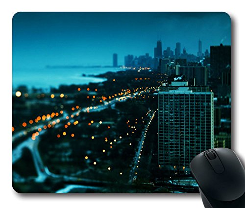Custom-Unique-Mouse-Pad-with-Chicago-City-Sunset-Winter-Lights-Beautiful-Non-Slip-Neoprene-Rubber-Standard-Size-9-Inch220mm-X-7-Inch180mm-X-18-Inch3mm-Desktop-Mousepad-Laptop-Mousepads-Comfortable-Com