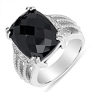 Women's Black Onyx Fashion Ring with Diamond Accent in Sterling Silver 925 (5)