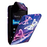 STYLEYOURMOBILE {TM} SONY XPERIA TIPO ST21i ULTRA BUTTERFLY BLUE PU LEATHER MAGNETIC FLIP CASE COVER POUCH
