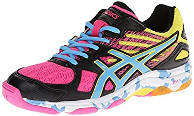 ASICS Women's Gel Flashpoint 2 Volley Ball Shoe,Black/Pool/Hot Pink,5 M US