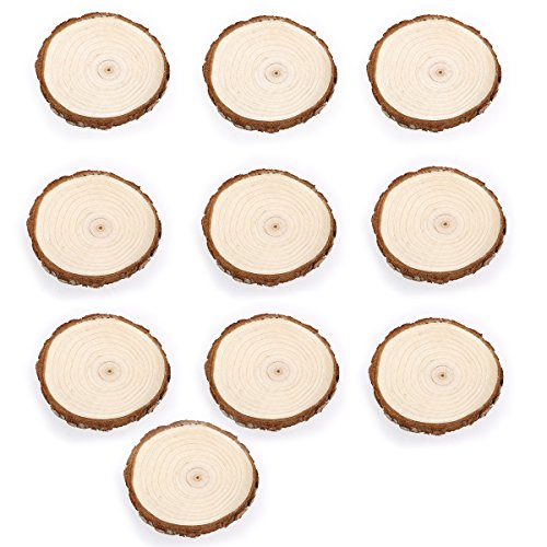 Pixnor-10ST-7-9-CM-Holz-Holzscheit-Scheiben-Scheiben-Naturholz-Rinde-Tisch-dekorativ-Wedding-Mittelstcke