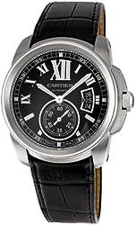 Cartier Men's W7100041 Calibre de Cartier Leather Strap Watch