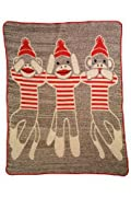 Green 3 Apparel Recycled USA-made 3 Sock Monkeys Throw