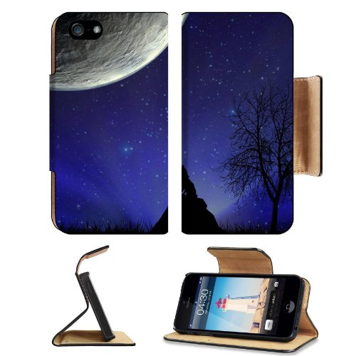 Howl At The Moon Wolf Apple Iphone 5 Flip Cover Case With Card Holder Customized Made To Order Support Ready Premium Deluxe Pu Leather 5 3/16 Inch (132Mm) X 2 11/16 Inch (68Mm) X 9/16 Inch (14Mm) Msd Iphone 5 Professional Cases Touch Id Gold Spec Accessor
