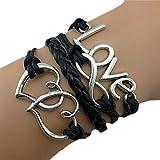 Bracelet Infini Coeur et Love / Infinity / One Direction - Noir / Argenté