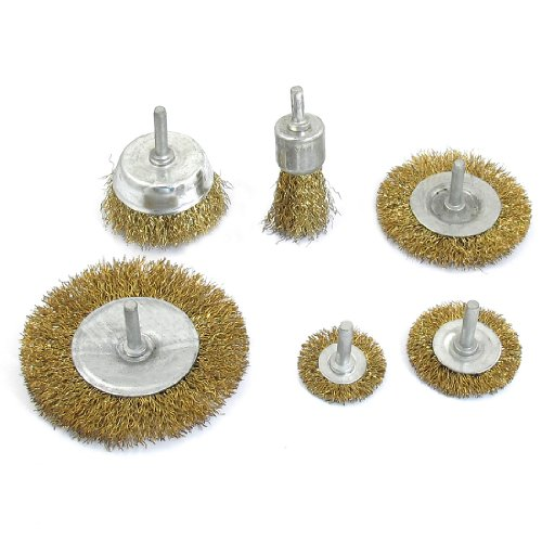 uxcell 6 in 1 Gold Tone Crimped Steel Abrasive Grinding Wheel Brushes Tool